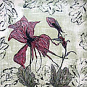 Pink Dragonfly Flora Art Print