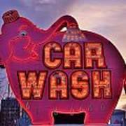 Pink Elephant Car Wash Art Print