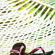 Pink Flip Flops On Backyard Rope Hammock Vintage Scratched Style Art Print