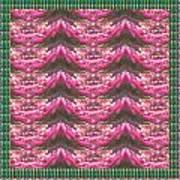 Pink Flower Petal Based Crystal Beads In Sync Wave Pattern Art Print