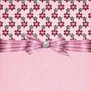 Pink Flowered Hearts  Art Print