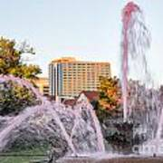 Pink Fountain For Breast Cancer Art Print by Terri Morris