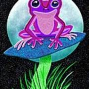 Pink Frog And Blue Moon Art Print