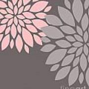 Pink Grey Peony Flowers Art Print