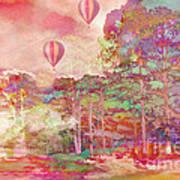Pink Hot Air Balloons Abstract Nature Pastels - Dreamy Pastel Balloons Art Print