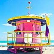 Pink Lifeguard Post Art Print