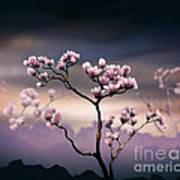 Pink Magnolia - Dark Version Art Print