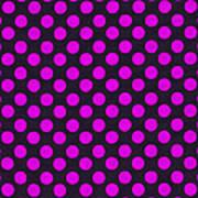 Pink Polka Dots On Black Fabric Background Art Print