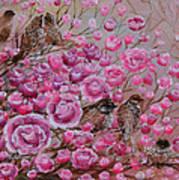 Pink Rose Birdies Art Print