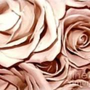 Pink Roses Bouquet Sketchbook Effect Art Print