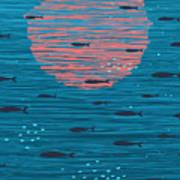 Pink Sunset And Fish Underwater Cartoon Art Print