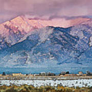 Pink Sunset On Taos Mountain Art Print