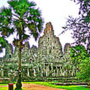 Pink Tower In The Bayon In Angkor Thom In Angkor Wat Archeological Park Near Siem Reap-cambodia Art Print