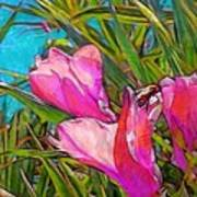 Pink Tropical Flower With Honeybee - Vertical Art Print
