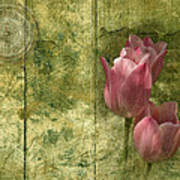 Pink Tulips And Old Clock Art Print