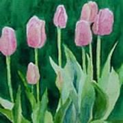 Pink Tulips Colorful Flowers Garden Art Original Watercolor Painting Artist K. Joann Russell Art Print