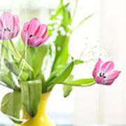 Pink Tulips In Yellow Vase Art Print