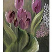 Pink Tulips Art Print by Nancy Edwards