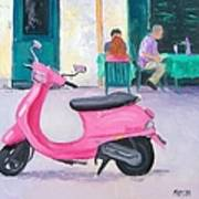 Pink Vespa Art Print