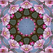 Pink Weeping Cherry Blossom Kaleidoscope Art Print