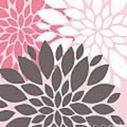 Pink White Grey Peony Flowers Art Print