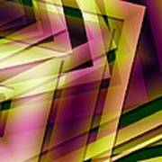 Pink Yellow And Green Geometry Print by Mario Perez