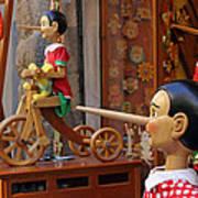 Pinocchio Inviting Tourists In Souvenirs Shop Art Print