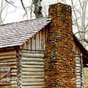 Pioneer Log Cabin Chimney Art Print
