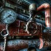 Pipes And Clocks Art Print