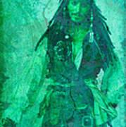 Pirate Johnny Depp - Shades Of Caribbean Green Art Print