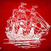 Pirate Ship Artwork - Red Art Print