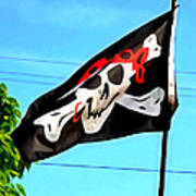 Pirate Ship Flag Of The Skull And Crossbones Art Print