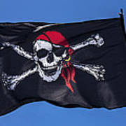 Pirate Skull Flag With Red Scarf Art Print by Garry Gay