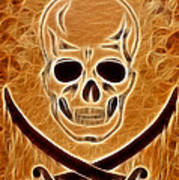Pirates Skull Digtal Painting Art Print