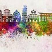Pisa Skyline In Watercolor Background Art Print