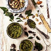 Pistachio Pesto With Mortar, Jars And Art Print