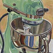 Pistachio Retro Designed Chrome Flour Mixer Art Print by Jennie Traill Schaeffer