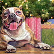 Pitbull Christmas Art Print