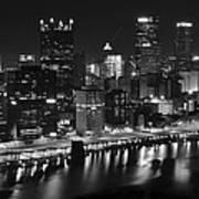 Pittsburgh Black And White Night Art Print
