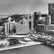 Pittsburgh Black And White Winter Panorama Art Print