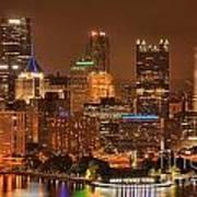 Pittsburgh Lights Under Cloudy Skies Art Print