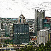 Pittsburgh Panorama Artistic Brush Art Print