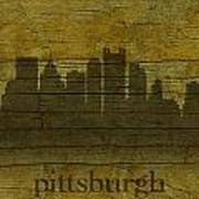 Pittsburgh Pennsylvania City Skyline Silhouette Distressed On Worn Peeling Wood Art Print