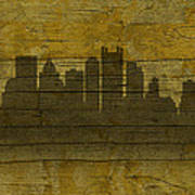Pittsburgh Pennsylvania City Skyline Silhouette Distressed On Worn Peeling Wood No Name Version Art Print