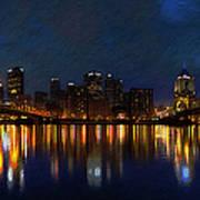 Pittsburgh Skyline 2 Print by  Fli Art