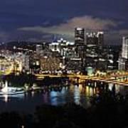 Pittsburgh Skyline At Night From Mount Washington 4 Art Print