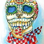Pizza Sugar Skull Art Print