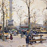Place De La Bastille Paris Art Print by Eugene Galien-Laloue