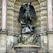 Place Saint Michel Statue And Fountain In Paris France Art Print