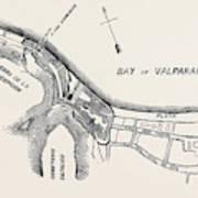 Plan Of Part Of The City Of Valparaiso Art Print